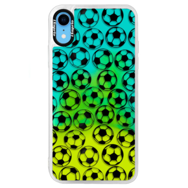 Neonové pouzdro Blue iSaprio - Football pattern - black - iPhone XR