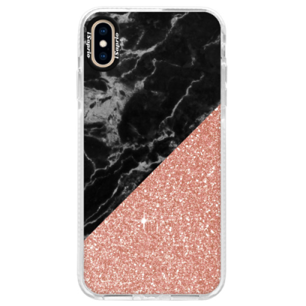 Silikonové pouzdro Bumper iSaprio - Rose and Black Marble - iPhone XS Max