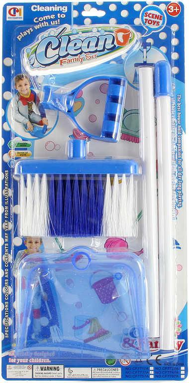 Malá uklízečka modrý uklízecí set smeták dlouhý + lopatka plast na kartě