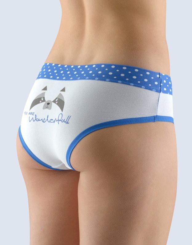 GINA dámské kalhotky francouzské, šité, bokové, s potiskem Funny 4 collection 14137P - atlantic bílá