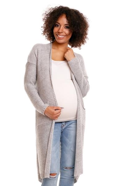 Svetříkový plášť s kapsami MERY - šedý