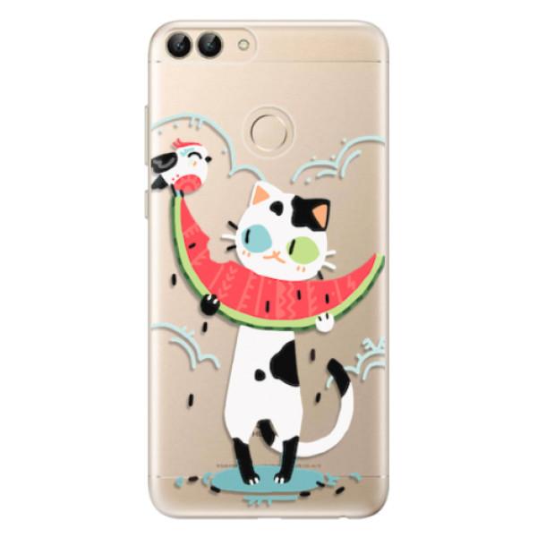 Odolné silikonové pouzdro iSaprio - Cat with melon - Huawei P Smart
