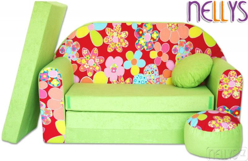 nellys-rozkladaci-detska-pohovka-21r-kvetinky-v-zelene