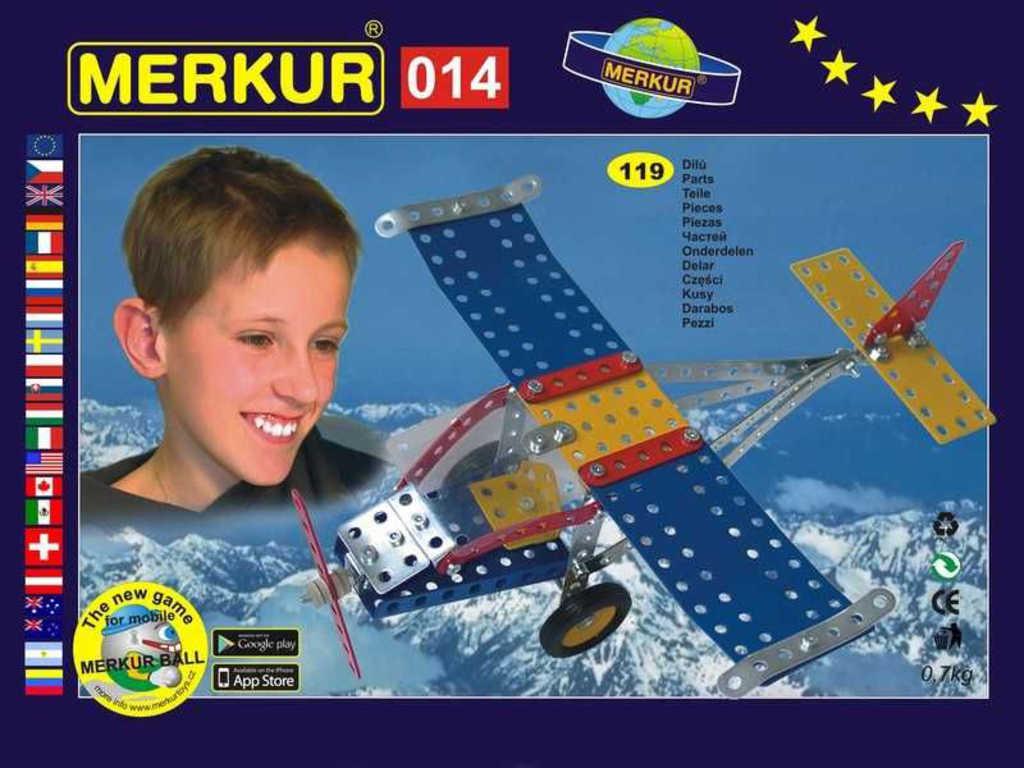 MERKUR M 014 Letadlo 119 dílků *KOVOVÁ STAVEBNICE*
