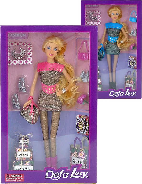 DeFa Lucy nákupy modní panenka 29cm trendy set s doplňky 2 barvy v krabici