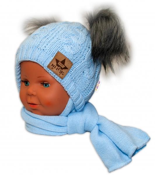 baby-nellys-zimni-cepicka-s-salou-chlupackove-bambulky-modra-sede-bambulky-6-18mesicu