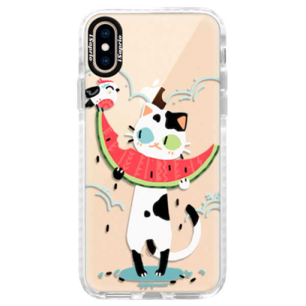 Silikonové pouzdro Bumper iSaprio - Cat with melon - iPhone XS