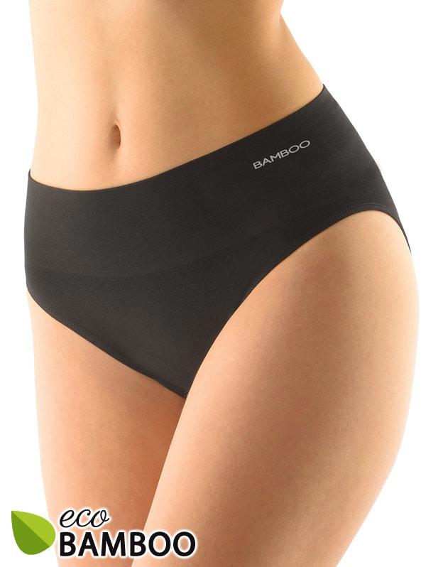 GINA dámské kalhotky klasické se širokým bokem, bezešvé, Eco Bamboo 00039P - černá