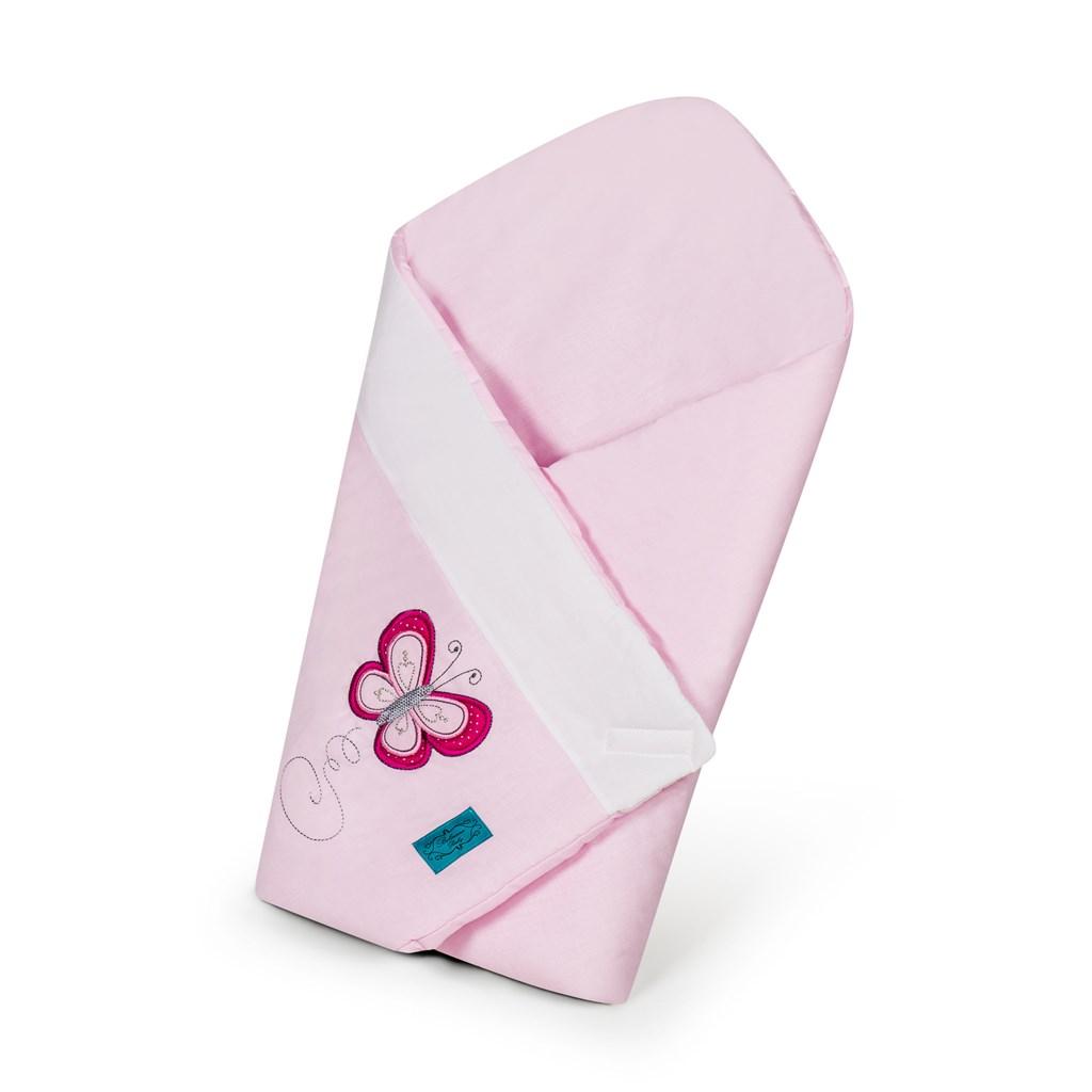 Vyšívaná zavinovačka Belisima Motýlek - růžová