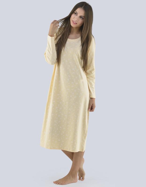 GINA dámské košilka noční dámská dlouhý rukáv, šité, s potiskem Pyžama 2019 19097P - piškotová bílá