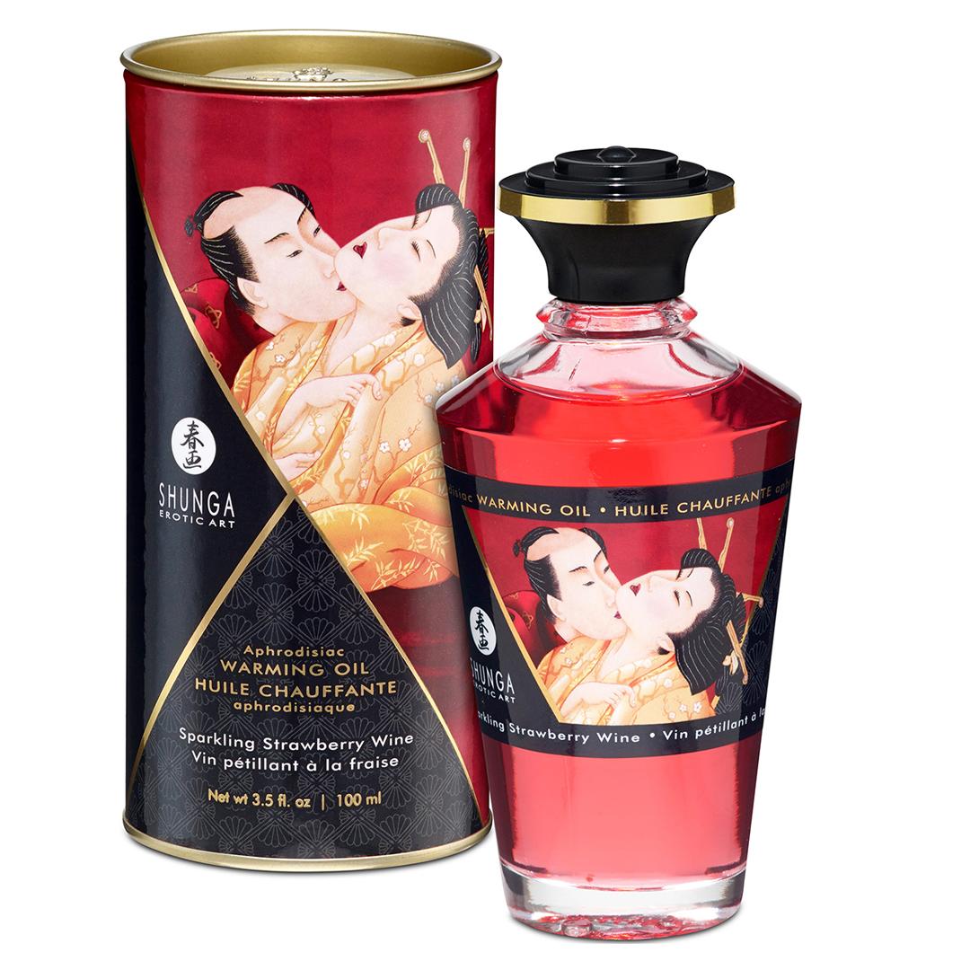 Afrodisiakální olej Shunga Champagne & Strawberry 100ml