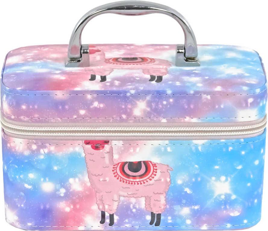 Kufřík dětský kosmetický lama se zrcadlem na zip modrý pro holčičky