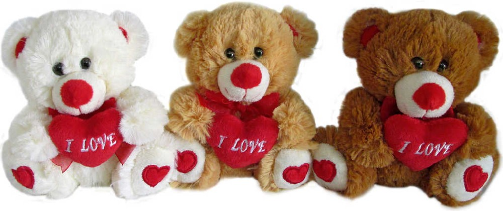 PLYŠ Medvídek se srdíčkem 15cm I Love You - 3 barvy