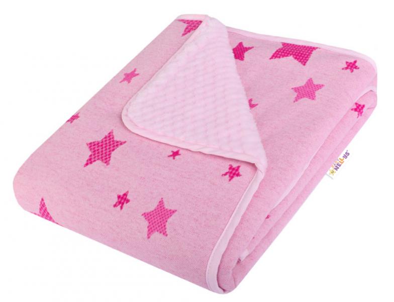 Baby Nellys Dětská Dual deka s minky, hvězdičky - růžová