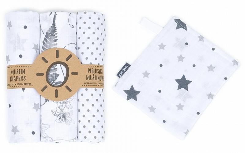Mamo Tato Mušelínové plenky 3ks + žínka zdarma - puntíčky, listy, hvězdičky