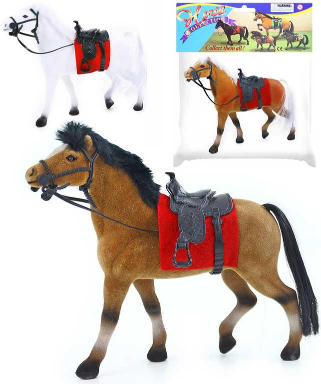 Kůň se sedlem fliškový 20cm 3 druhy v sáčku flíska