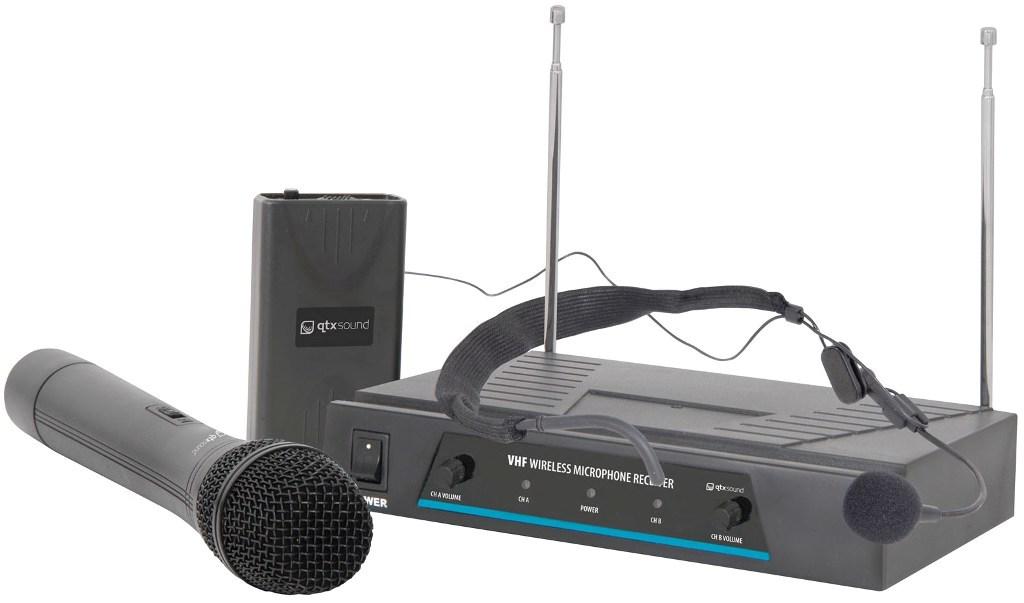 QTX VHF-N2 bezdrátový mikrofon, 2 kanálový, 174,1 + 175 MHz