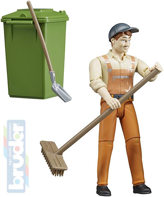 BRUDER 62140 Figurka popelář 11cm set s popelnicí a nářadím plast