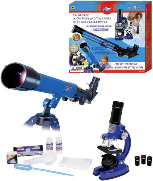 Set malý obejvitel mikroskop + teleskop s doplňky 25 ks na baterie