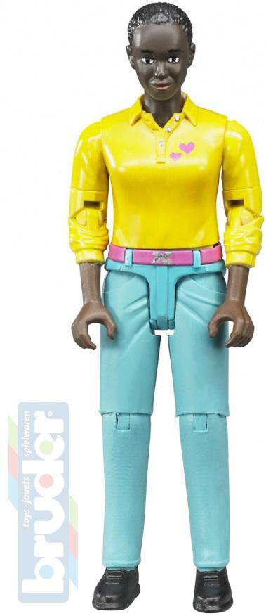 BRUDER 60404 Figurka žena černoška 11cm tmavá pleť plast
