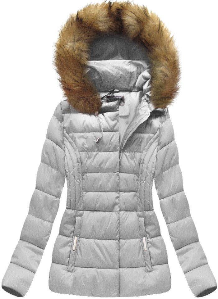 Šedá dámská bunda s kapucí (B1032-30)