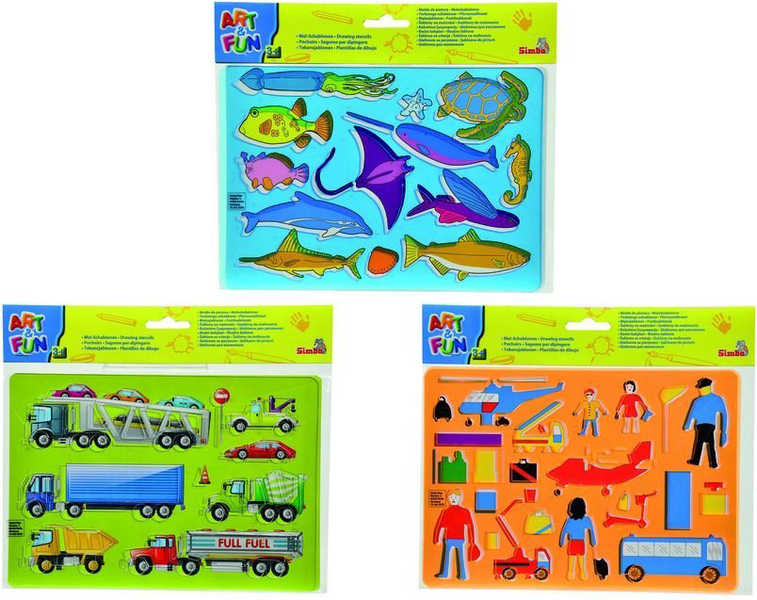 SIMBA Šablony na kreslení plastové set v sáčku 3 druhy