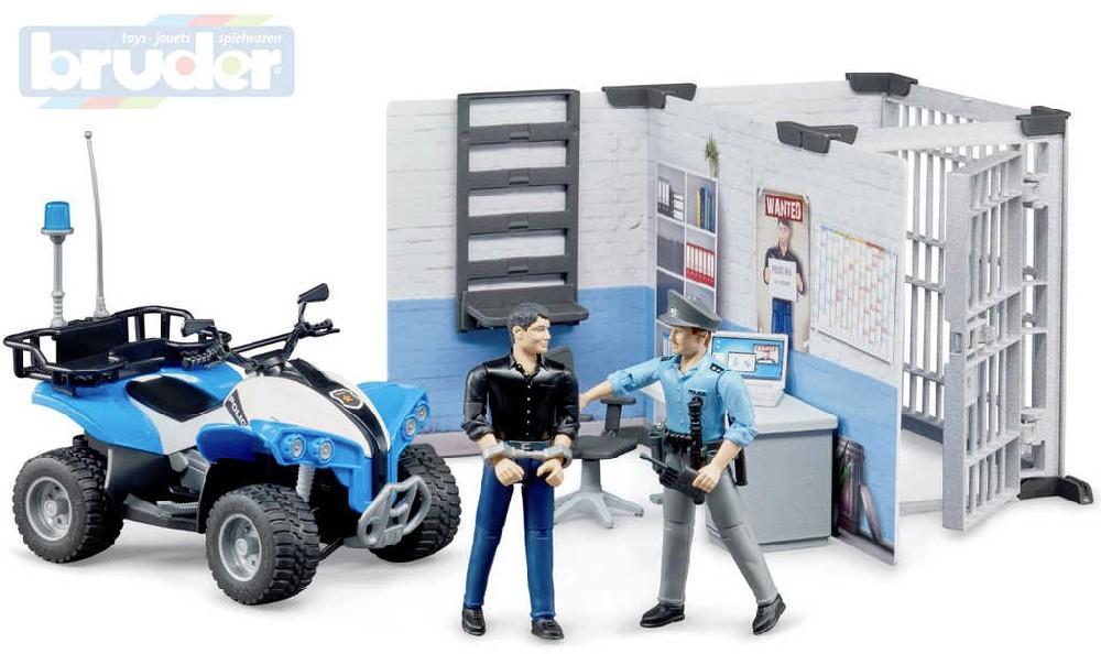 BRUDER 62730 Bworld Policejní stanice set čtyřkolka se 2 figurkami a doplňky 1:16