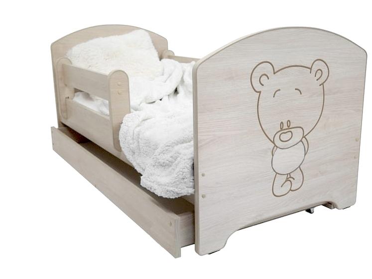 Dětská postel Medvídek - barva Dub Sonoma + matrace zdarma - 160x80