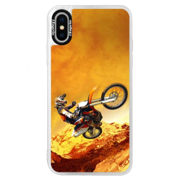 Neonové pouzdro Blue iSaprio - Motocross - iPhone X