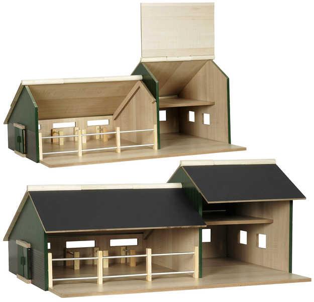 DŘEVO Stáj dřevěná s garáží pro traktory 1:32 v krabičce *DŘEVĚNÉ HRAČKY*