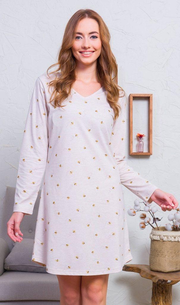 Dámská noční košile s dlouhým rukávem Včely - smetanová