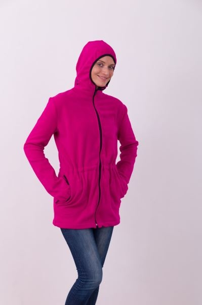 JOŽÁNEK Nosící fleece mikina s kapucí - pouze přední nošení - tm. růžová, vel.