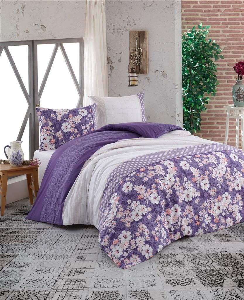Povlečení francouzské bavlna 220x220,70x90 Dona purple, Výběr zapínání: