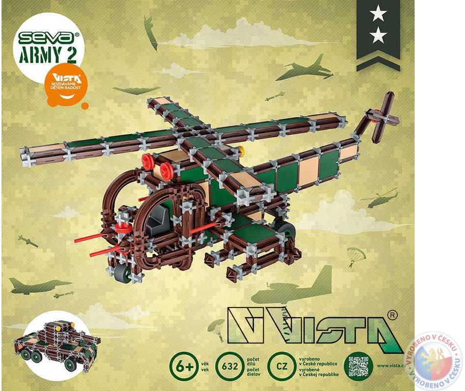 VISTA SEVA ARMY 2 Tank Vrtulník polytechnická STAVEBNICE 632 dílků