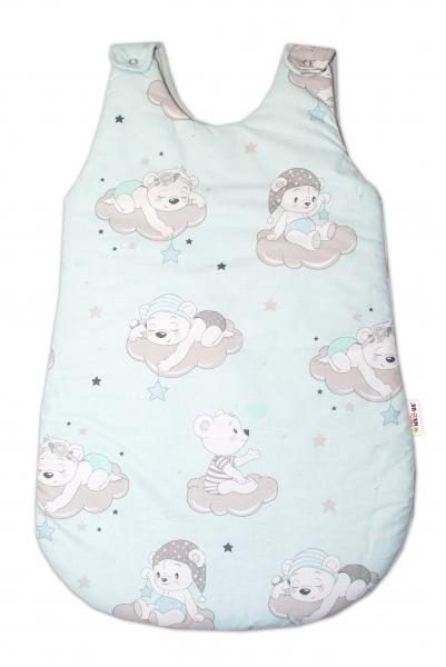 Bavlněný spací vak Baby Nellys, Mráček, 74 cm - mátový