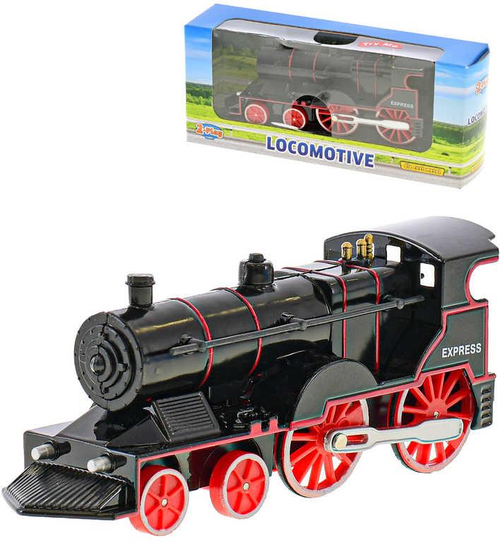 Lokomotiva 14cm kovová černá zpětný chod vlak na baterie Světlo Zvuk