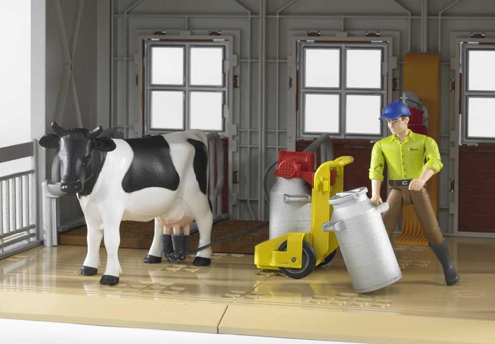 BRUDER 62621 Mlékařský set stáj kráva s figurkou a doplňky 1:16 plast