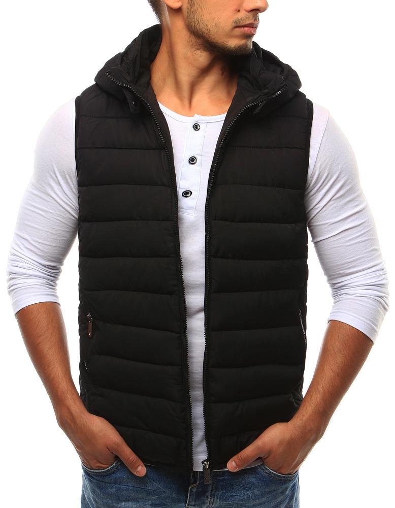 Pánská černá vesta s kapucí R-10 - Caddiin - Černá/M