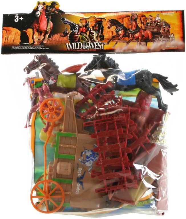 Divoký západ set figurky indiáni s plánkem a doplňky v sáčku plast