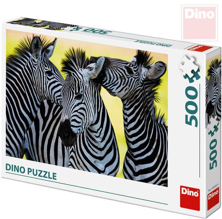 DINO Puzzle 500 dílků Tři zebry foto 47x33cm skládačka v krabici