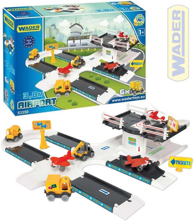 WADER Kid cars 3D letecká základna 3,8m baby stavebnice set s auty a letadly