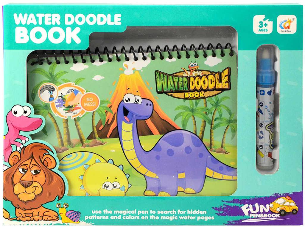 Kouzelné malování vodou Dinosauři set bloček s kouzelným fixem pro kluky