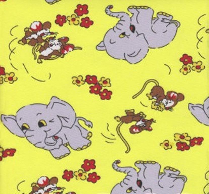 Povlečení dětské bavlna malá postýlka Slůně žluté, Výběr zapínání: nitěný knoflík