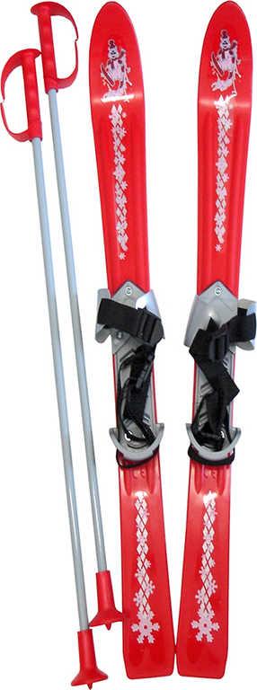 PLASTKON Lyže dětské Baby Ski 90cm carvingové Červené s vázáním plast