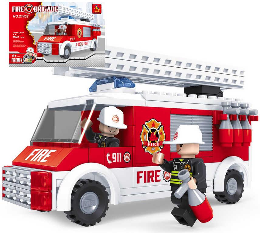 AUSINI Stavebnice HASIČI auto hasičské žebřík sada 150 dílků + 2 figurky plast