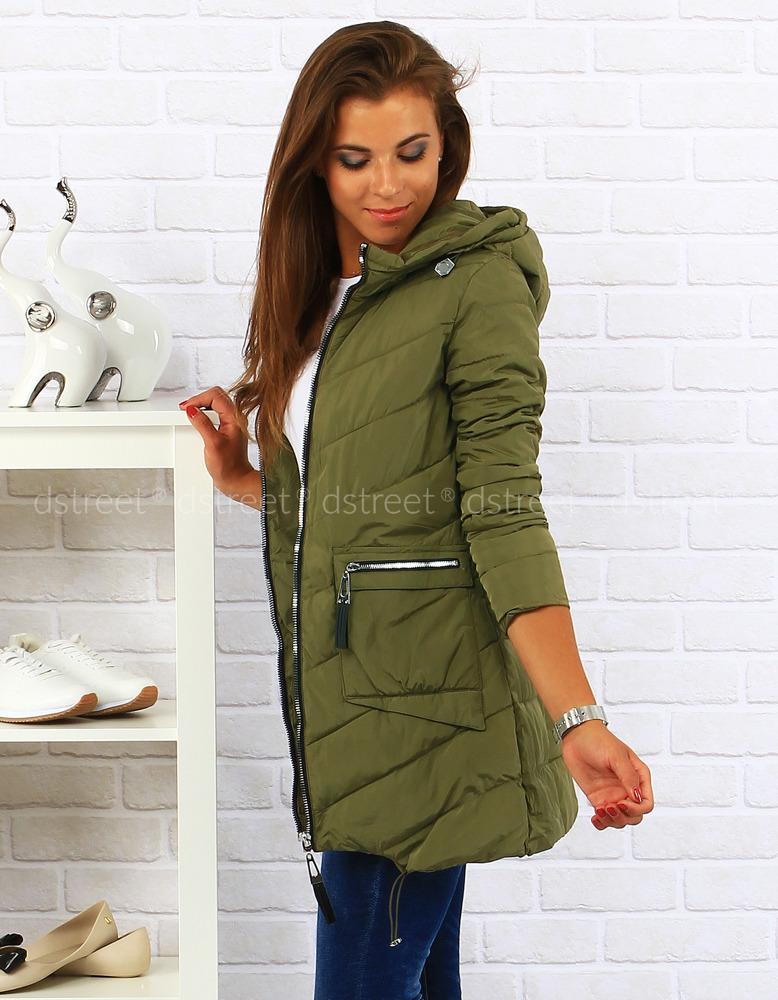 Dámská prošívaná bunda s kapucí ty0014 - Pine House - Zelená/XL