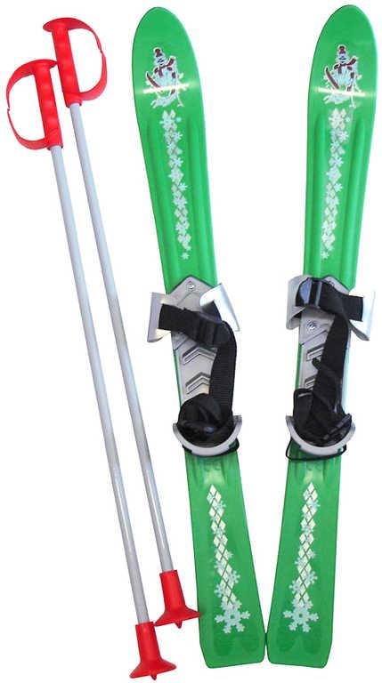PLASTKON Lyže dětské Baby Ski 70cm carvingové Zelené s vázáním plast