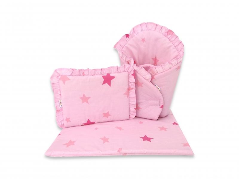 Baby Nellys Luxusní sada pro panenku, zavinovovačka, peřinka a polštářek,BABY STAR, růžová