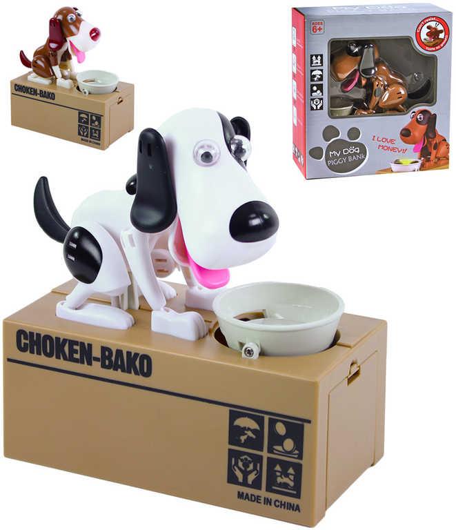 Pokladnička dětská kasička hladový pes na baterie různé druhy plast