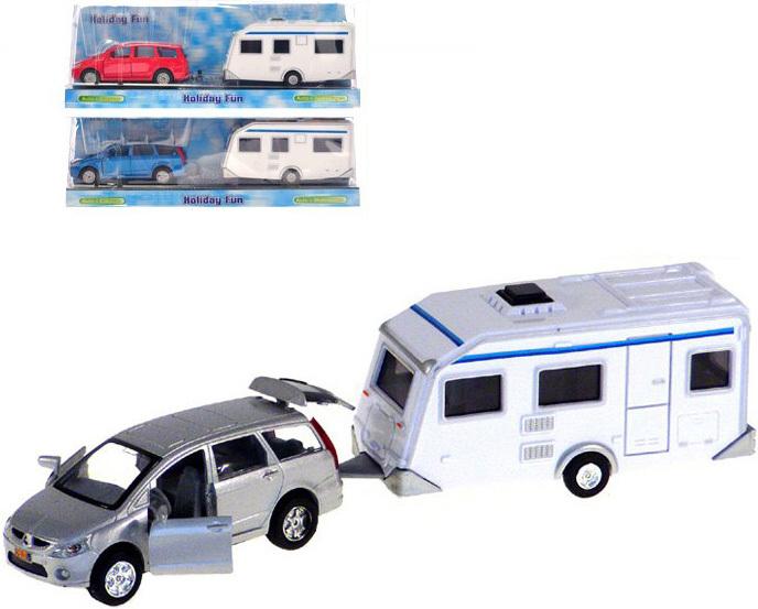 Auto 2-Play Mitsubishi set s přívěsem karavan zpětný chod 3 barvy kov